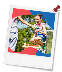 girl with pigtails jumping rope